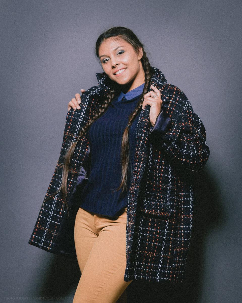 Manteau en laine bouillie marine