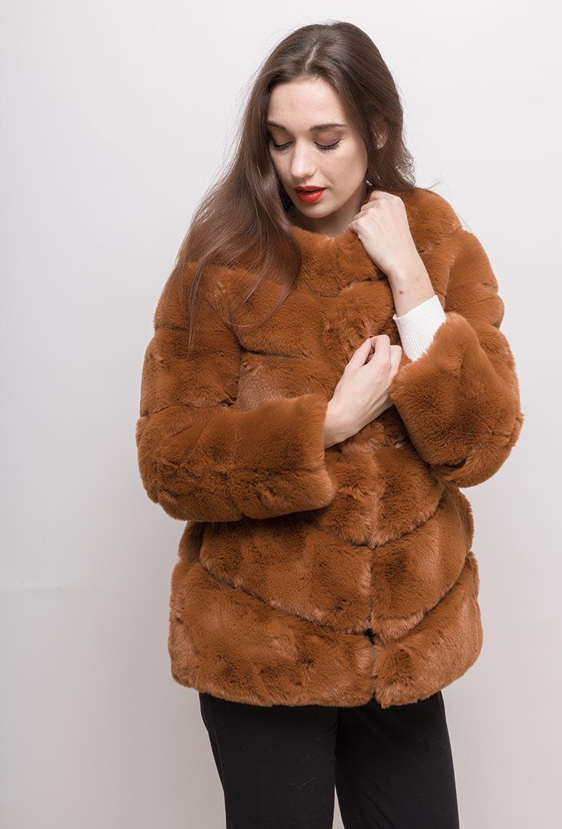 Manteau en fausse fourrure Terracotta