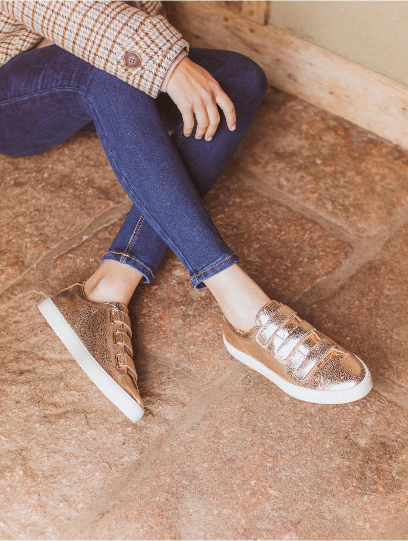 Sneakers Bobbies en cuir dorée