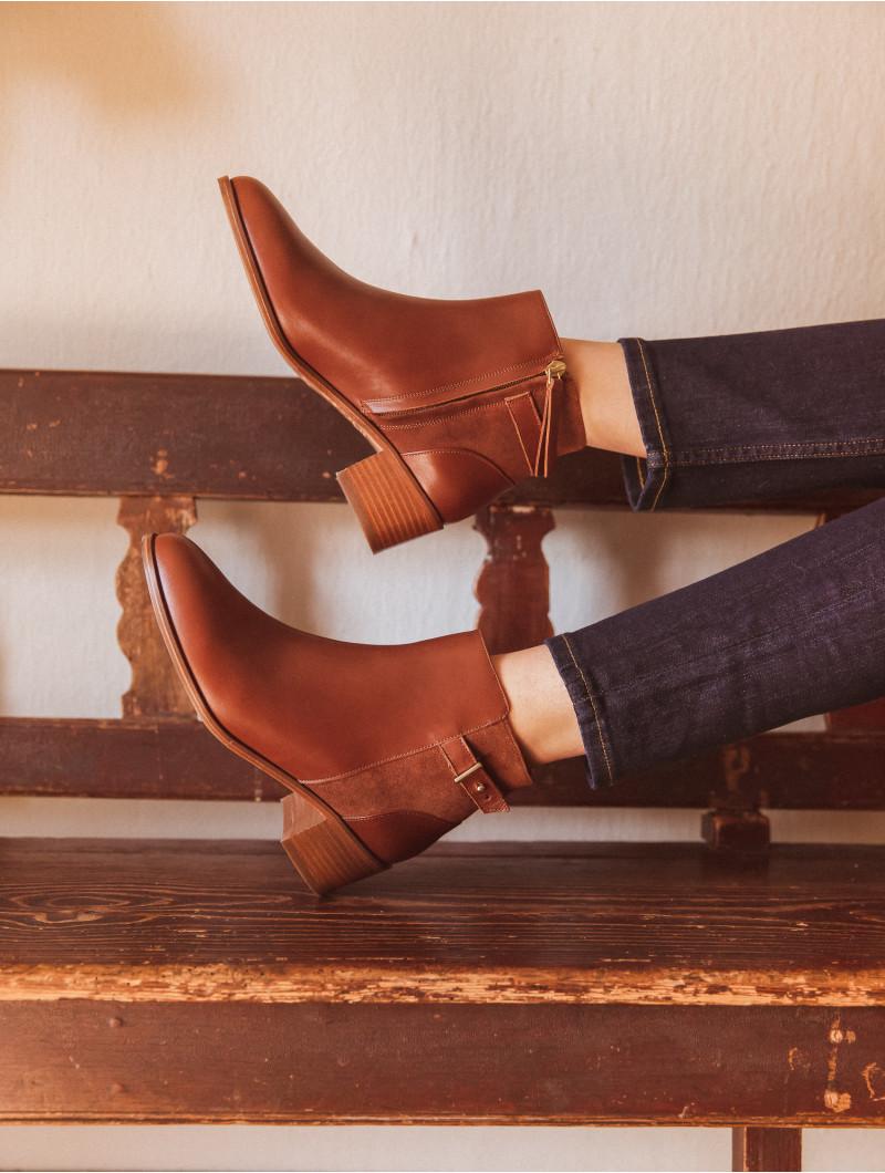 Boots mi-hautes Bobbies bi-matiere Cognac
