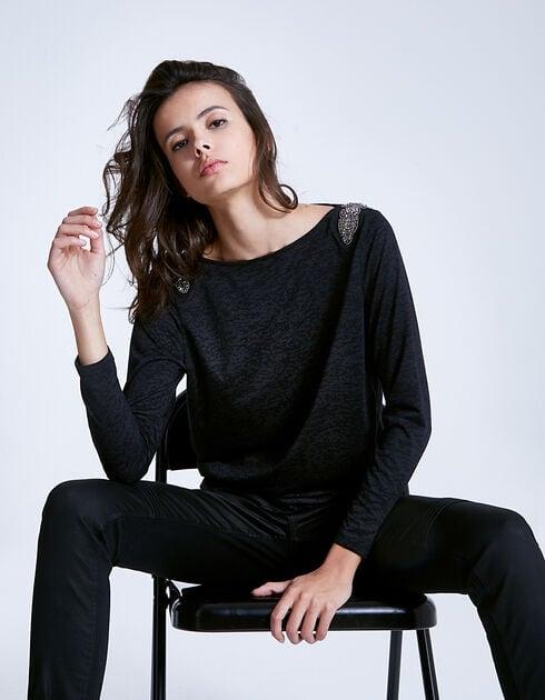 Tee-shirt patch bijoux femme IKKS NOIR