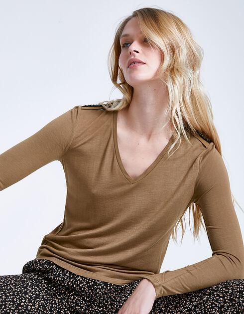 Tee-shirt camel bijoux femme IKKS