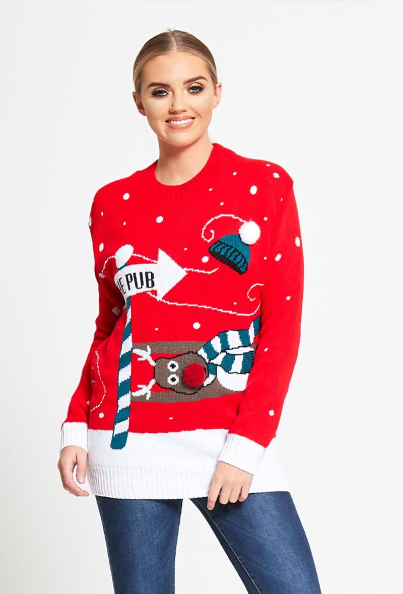 Pull rouge de Noël