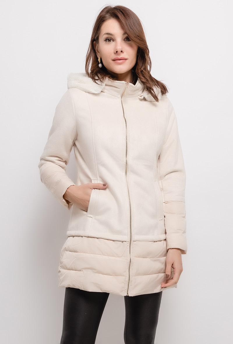Manteau beige en bi-matière