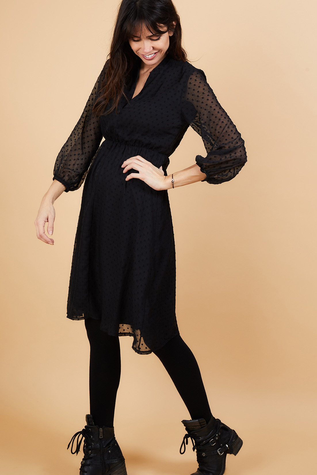 Robe Noire Cintree Femmes Robe Jupe Combinaison Lora