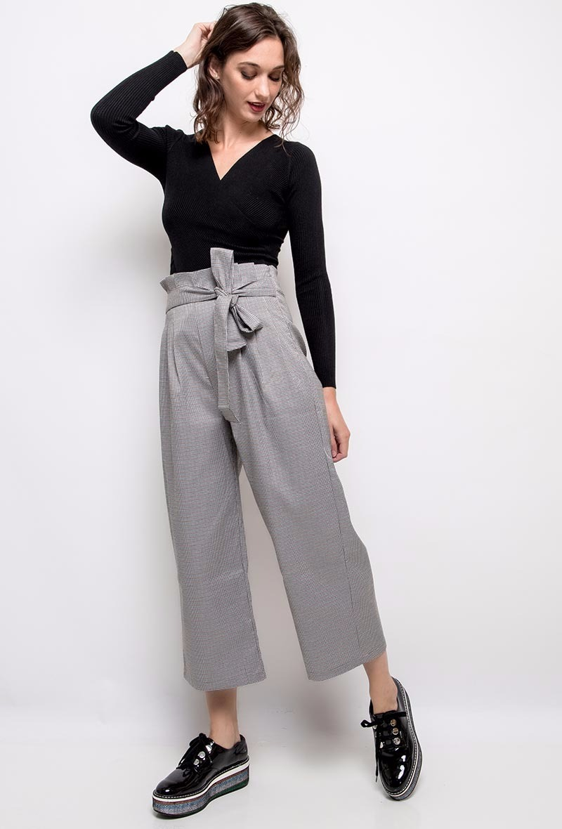 Pantalon gris clair - coupe large