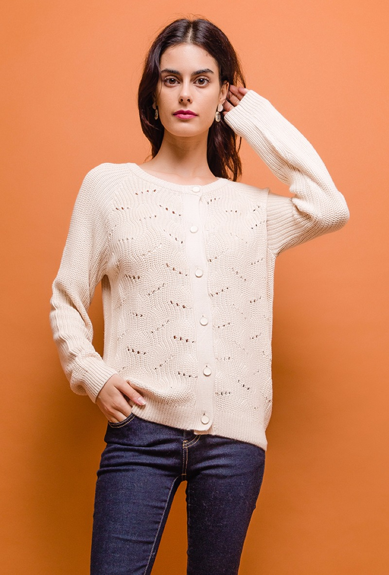 Gilet tricot écru à fantaisie