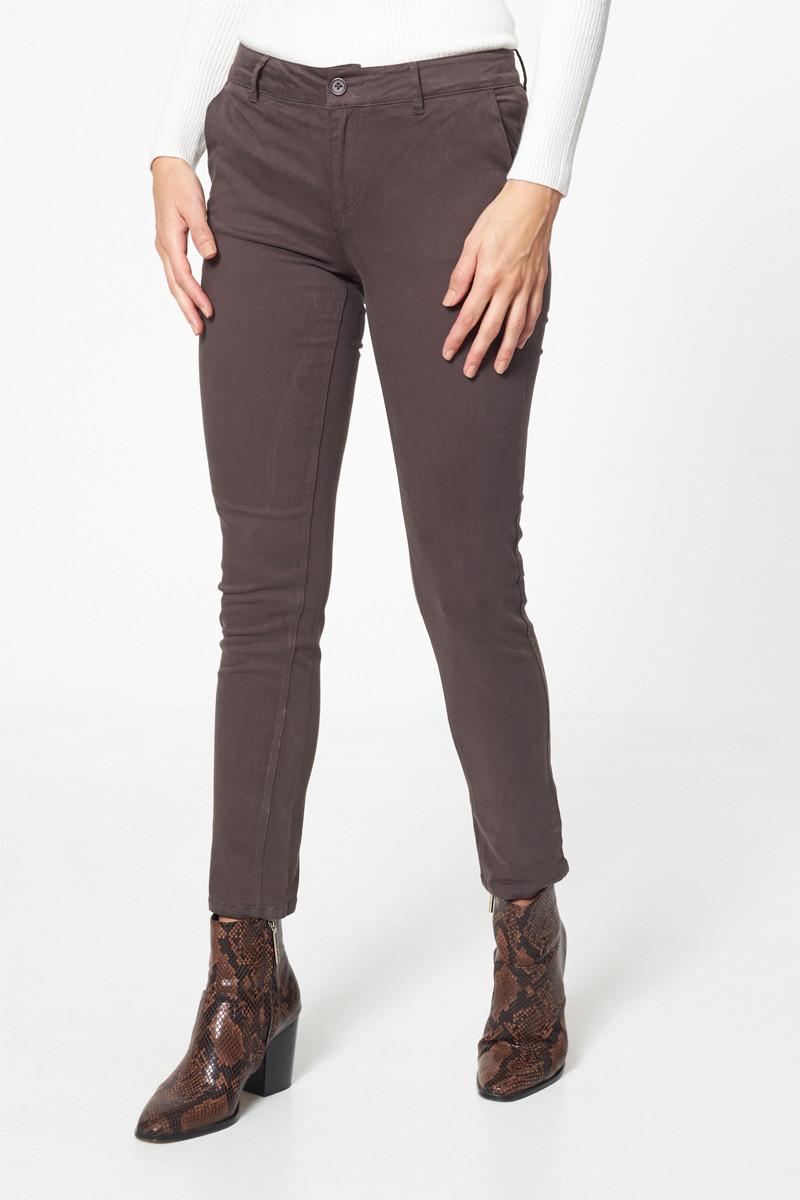 Pantalon gris - chino skinny effet peau de pêche