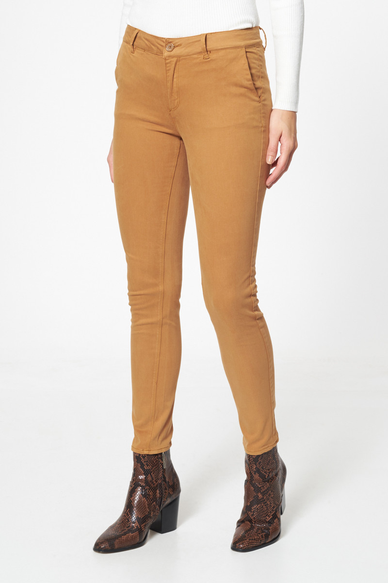 Pantalon chino skinny Effet peau de pêche Camel