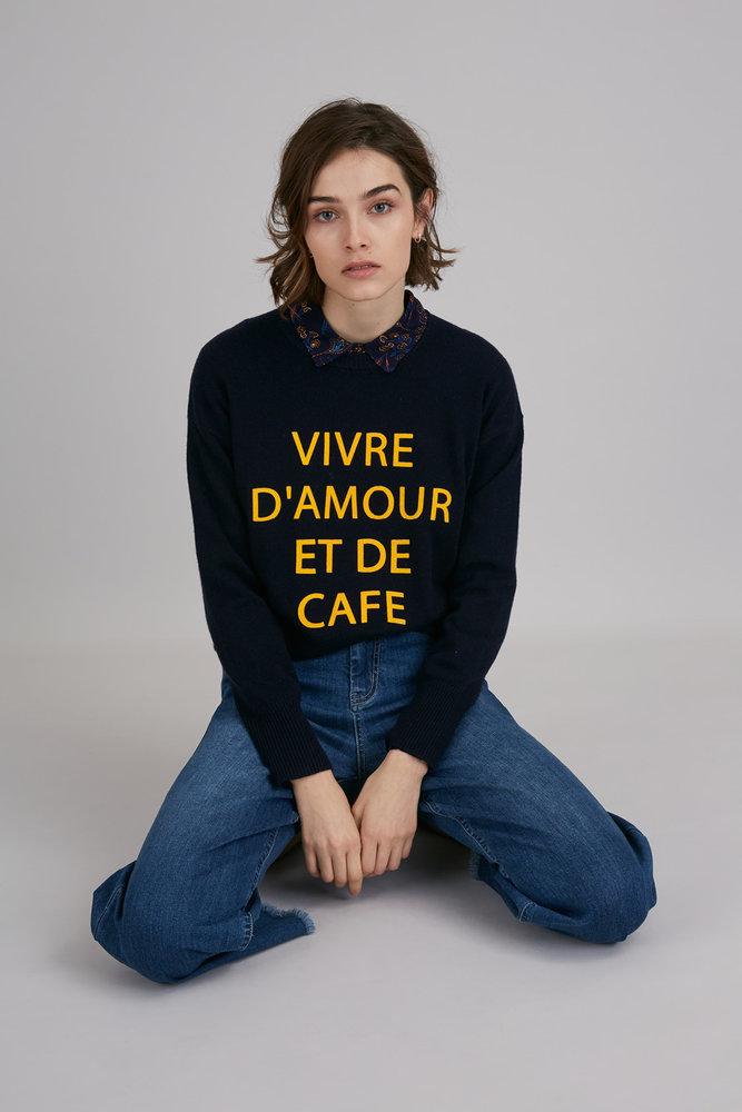 Pull - Vivre d\'amour et de café - bleu nuit