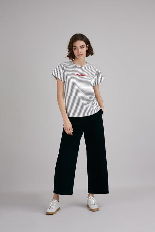 Mindy - t-shirt marinière à message en coton