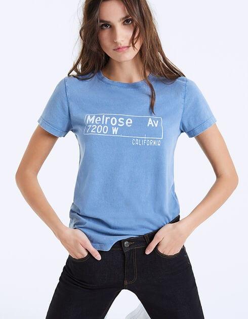 Tee-shirt bleu en coton - Melrose Avenue IKKS