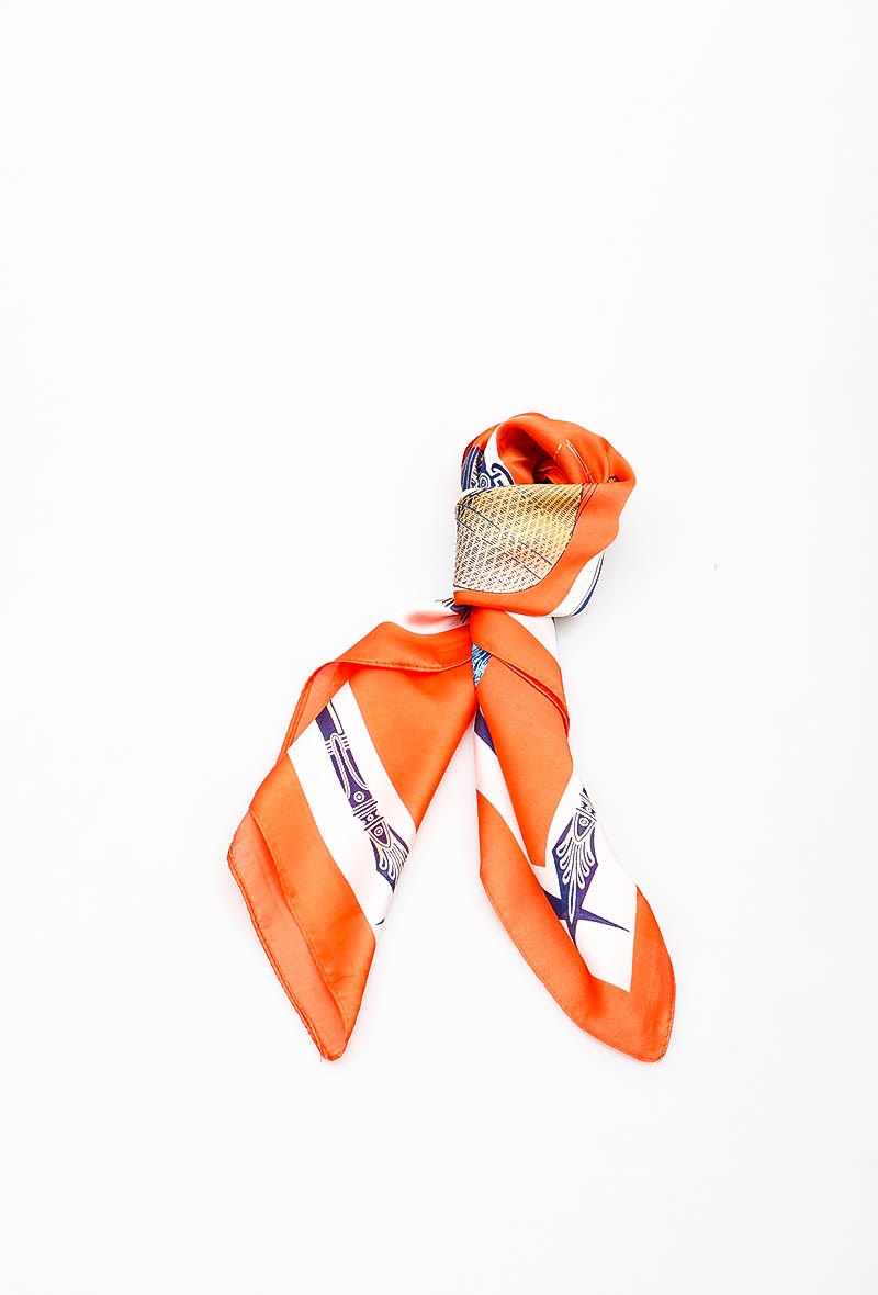 Foulard orange - carré - LORA