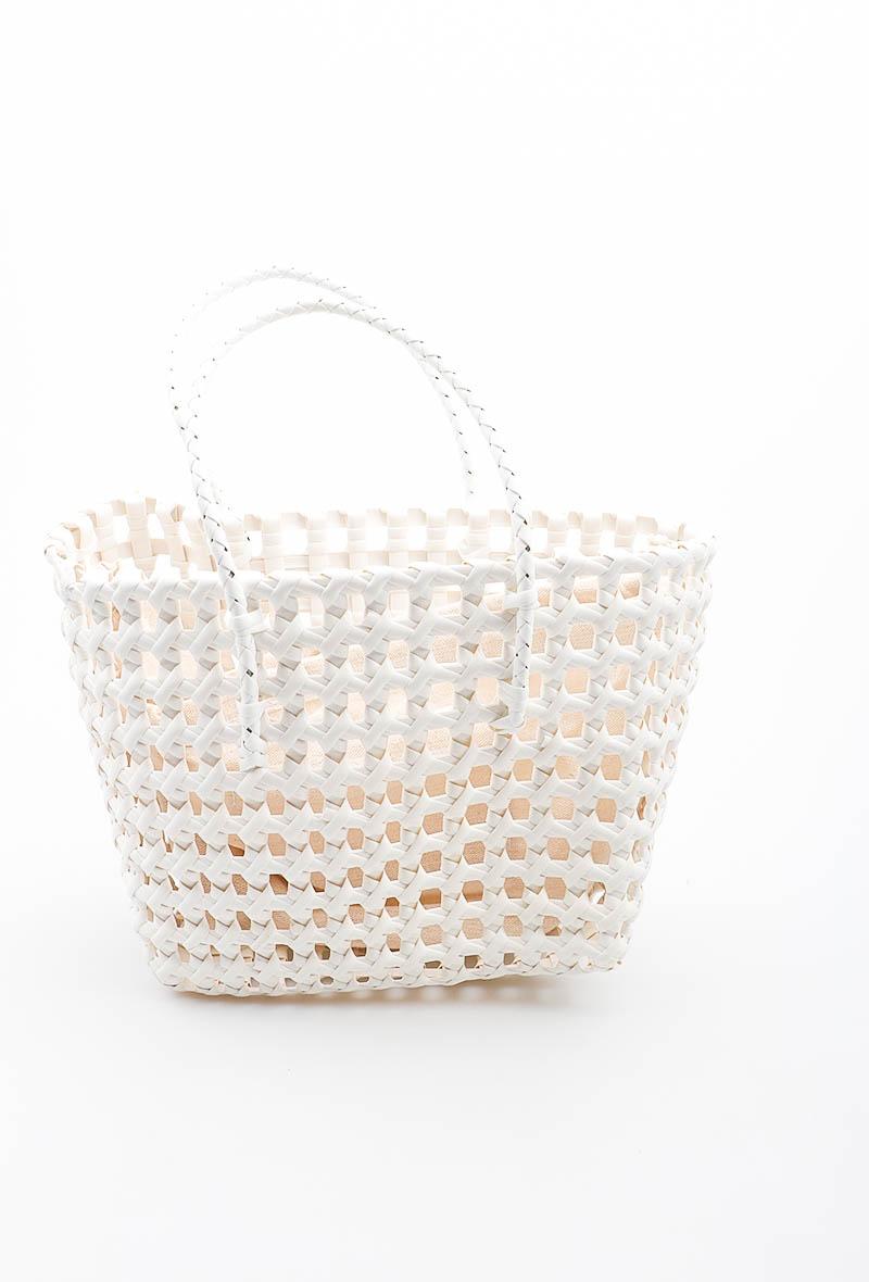 Panier blanc - effet crochet - LORA