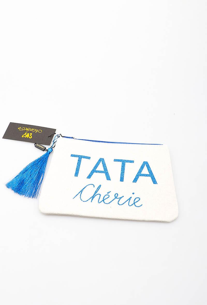 Pochette blanche - TATA Chérie en Bleu Royal - LORA