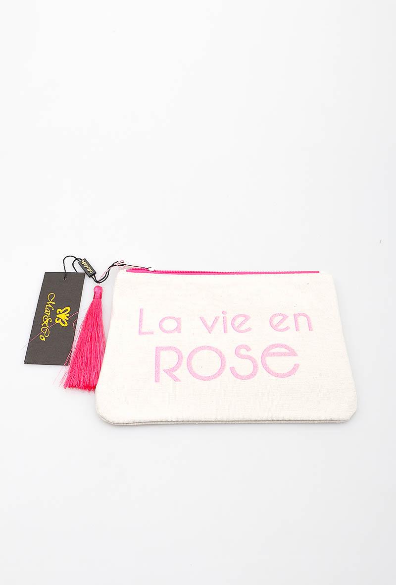Pochette blanche - broderie rose LA VIE EN ROSE - LORA