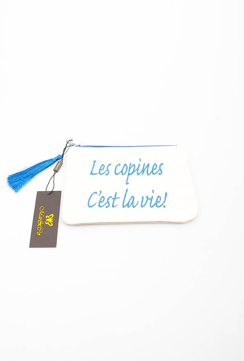 Pochette blanche - broderie LES COPINES C\'EST LA VIE - LORA