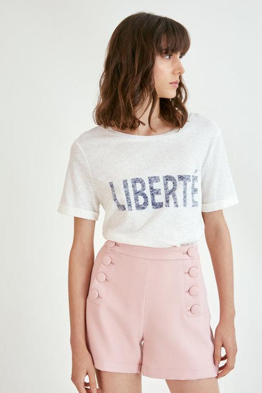 MANAEL - T-shirt LIBERTE - Blanc cassé - SUNCOO