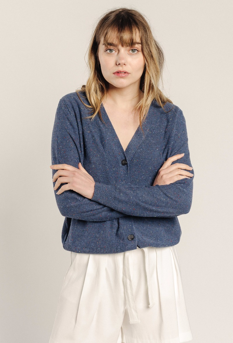 Cardigan Chiné -  SWEEWË - bleu