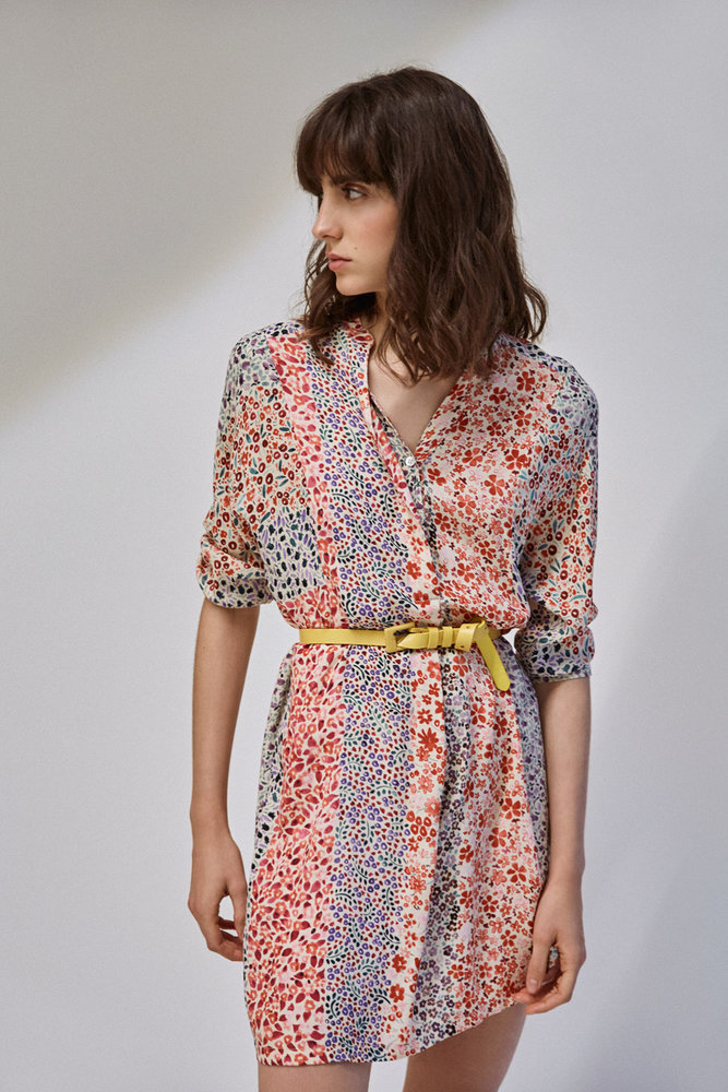 Cassie - Robe chemise courte imprimé fleurs - multicolore - SUNCOO