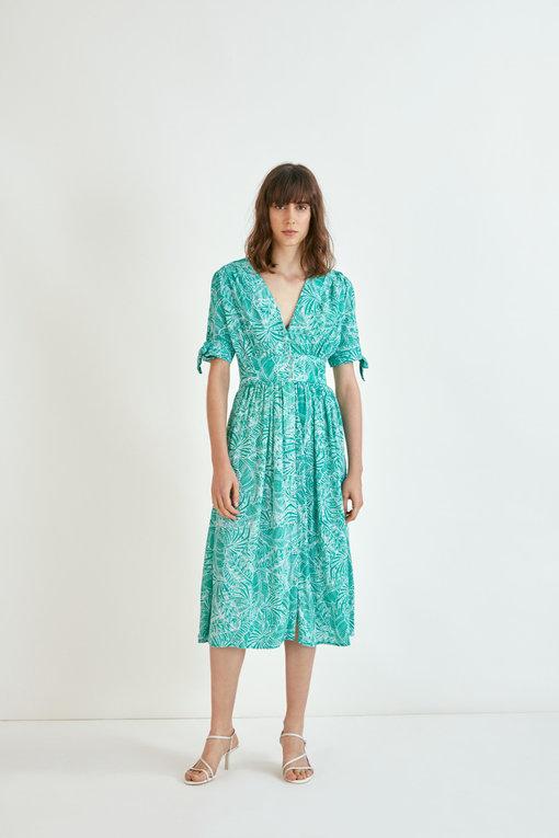 Calida - Robe midi babydoll imprimé tropical - vert -SUNCOO