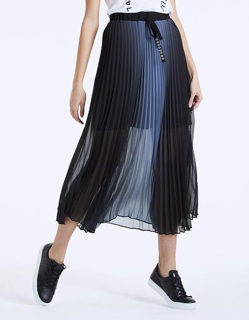 Jupe longue plissée voile - tie & dye noir - IKKS