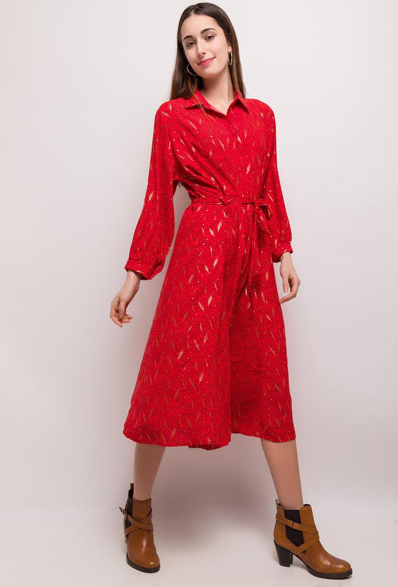 Robe midi Imprimée - Rouge - Christy