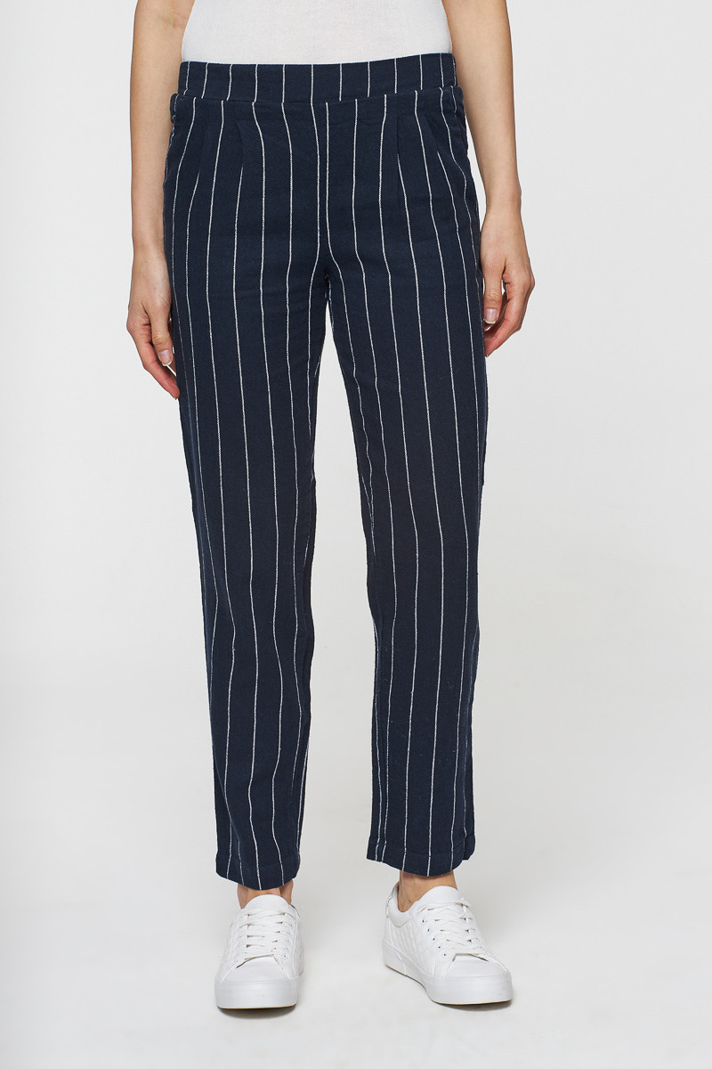 Pantalon marine rayé - lin et coton - Best Mountain