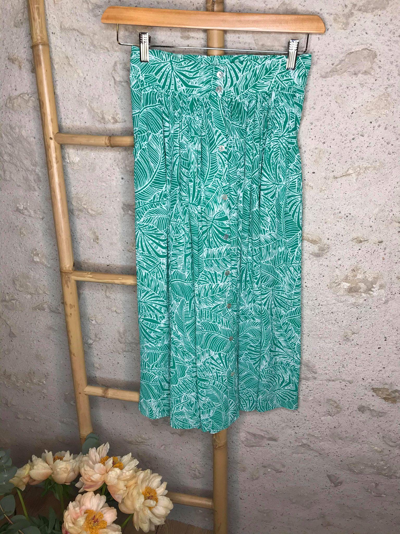 Jupe boutonnée imprimé tropical Farrah - Vert - SUNCOO