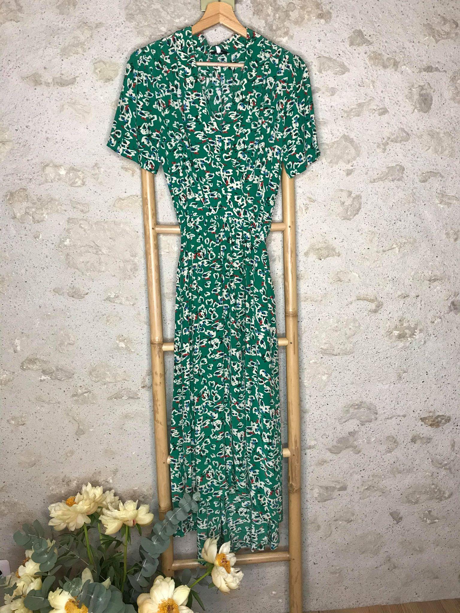 Robe longue imprimé vert à nouer - Cezanne - Suncoo