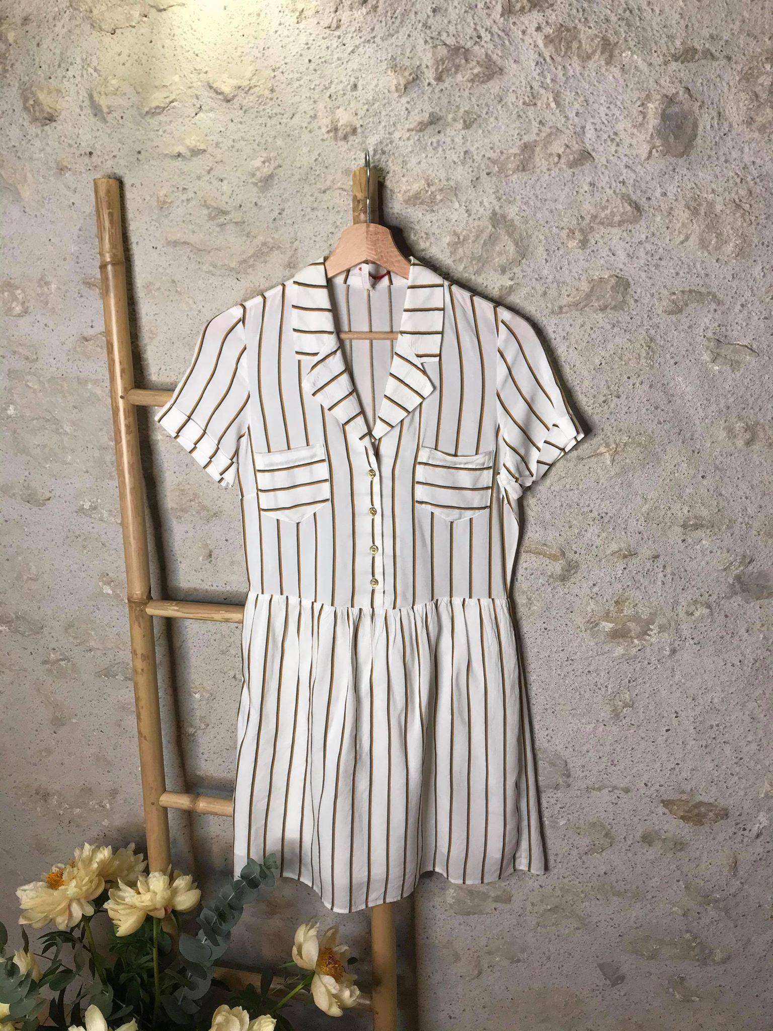 Robe blanche - rayures - I CODE