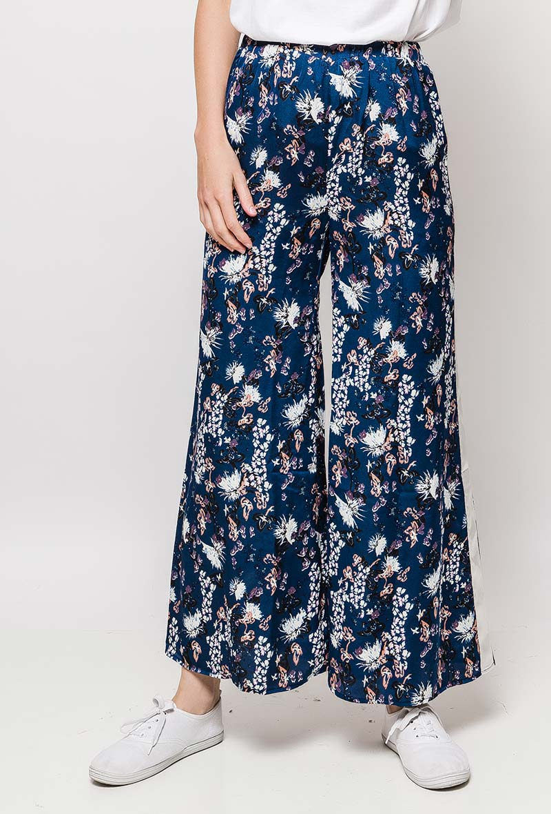 Pantalon large imprimé avec bandes latérales brillantes - Bleu - Lilie Rose