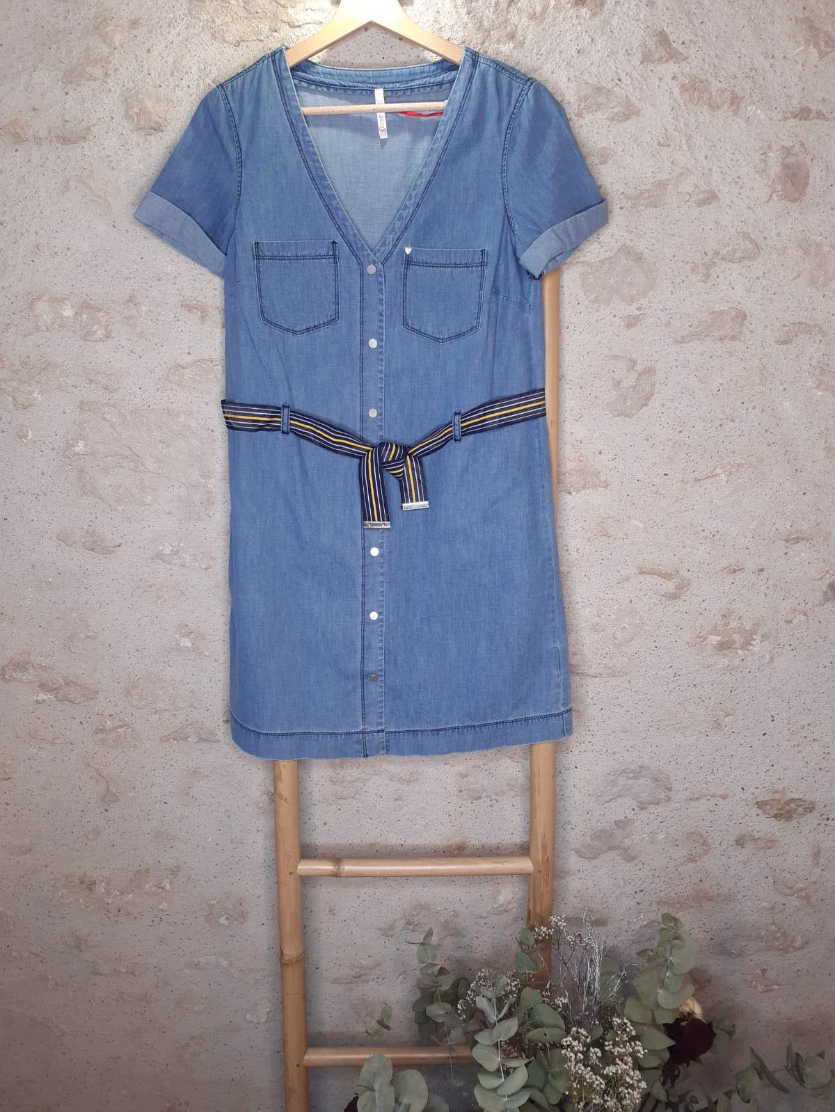 Robe en jean authentique à ceinture rayée I.Code