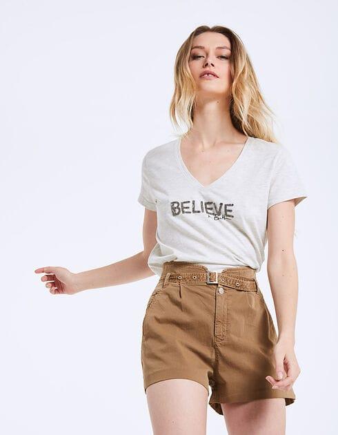 Tee-shirt - coton biologique - visuel Believe bijou - IKKS