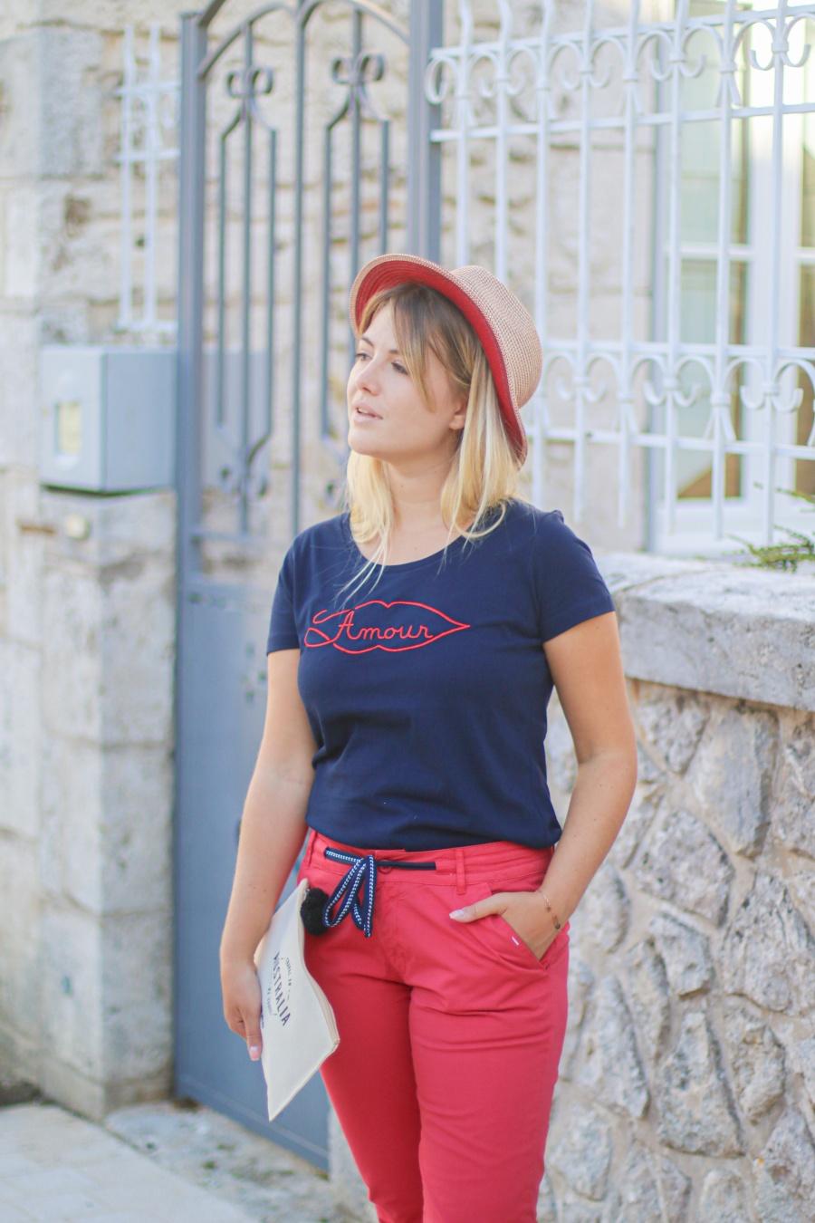 Tee-shirt marine - Visuel rouge AMOUR - MAMOUCHKA