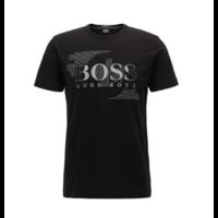 T-shirt à col ras-du-cou en jersey simple de coton Modèle Tee 1 Noir Boss