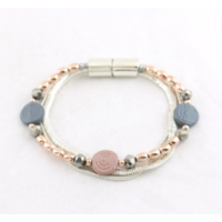 Bracelet aimanté pastilles métal peint pastel