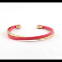 Bracelet jonc ouvert métal fushia