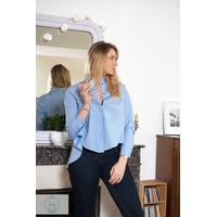 Chemise bleu ciel oversize femme