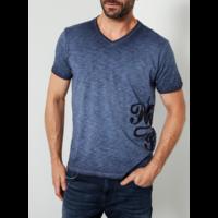 Tee shirt bleu col V logo coté