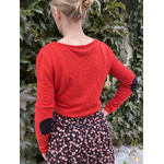 PLW20157F PULL COL TUNISIEN AVEC COUDIERES ROUGE 2
