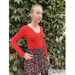 PLW20157F PULL COL TUNISIEN AVEC COUDIERES ROUGE 3