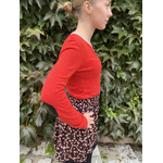 PLW20157F PULL COL TUNISIEN AVEC COUDIERES ROUGE 4