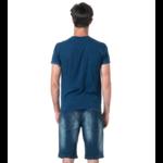 Tee-shirt uni poche et revers de manche imprimé 2