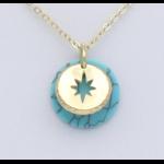 Collier métal-pierre reconstituée Turquoise : collier0119152-17mtal-pierrereconstitue 2