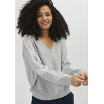 IKKS-SWEAT GRIS CLAIR CHINE _ BANDES DENTELLE I_CODE-QQ15024-22_2