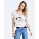 IKKS-TEE_SHIRT COL V EN LIN BLEU VISUEL LOS ANGELES FEMME-BQ10525-11_2