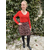 PLW20157F PULL COL TUNISIEN AVEC COUDIERES ROUGE 1