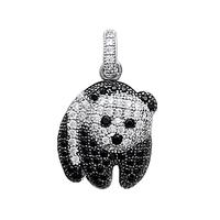 Pendentif panda argent et oxyde noir et blanc