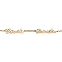 Bracelet 2 prénoms découpés en plaqué or 92316-2